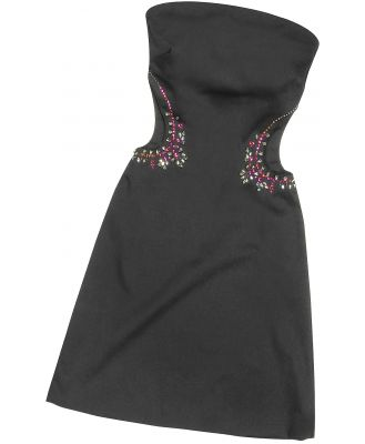 Hafize Ozbudak Designer Tops & Co, Black Crystal Decorated Cut Out Strapless Dress