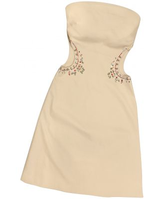 Hafize Ozbudak Designer Tops & Co, Opale Crystal Decorated Cut Out Strapless Dress