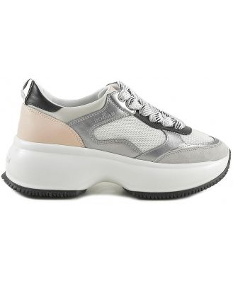 Hogan Designer Shoes, Women's Silver, Black and Pink Sneakers