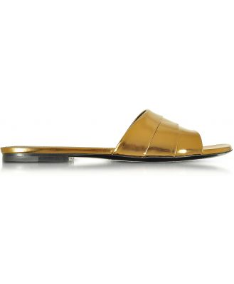 Jil Sander Designer Shoes, Laminated Leather Flat Slide