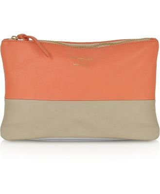 Le Parmentier Designer Handbags, Color Block Nappa Leather Zip Pouch