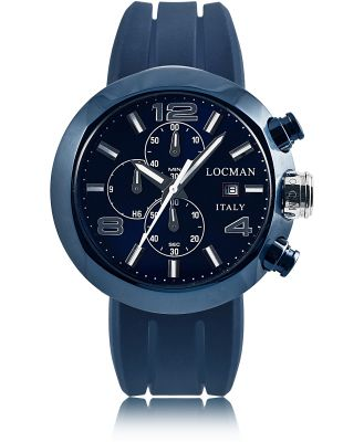 Locman Designer Men's Watches, Tondo Blue PVD Stainless Steel Chronograph Men's Watch w/Leather and Silicone Band Set