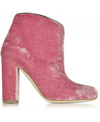 Malone Souliers Designer Shoes, Eula Pink and Charcoal Velvet Ankle Boots