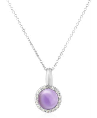 Mia & Beverly Designer Necklaces, Amethyst and Diamond 18K Gold Charm Necklace