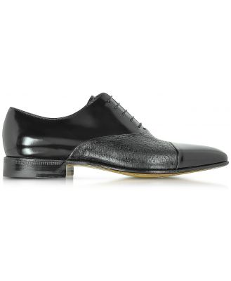 Moreschi Designer Shoes, Digione Black Peccary and Calf Leather Oxford Shoes