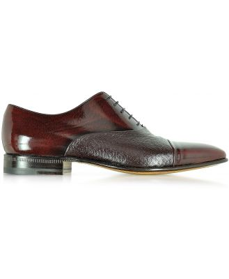 Moreschi Designer Shoes, Digione Burgundy Peccary and Calf Leather Oxford Shoes