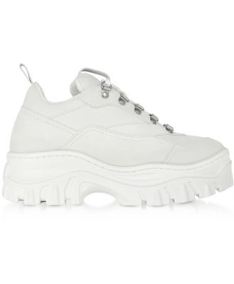 MSGM Designer Shoes, White Tractor Sneakers