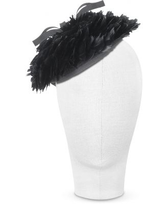 Nana' Designer Women's Hats, Bonnie - Black 50's Feather Hat