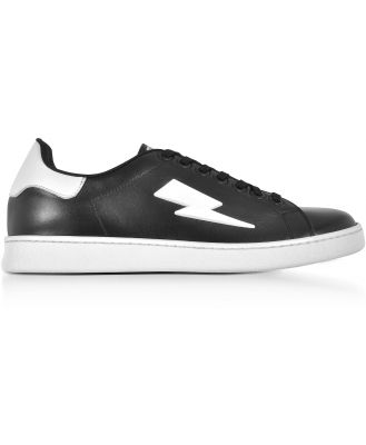 Neil Barrett Designer Shoes, Black and White Leather Thunderbolt Tennis Sneakers