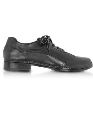 Pakerson Designer Shoes, Black Italian Handmade Leather Lace-up Shoes