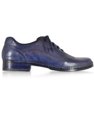 Pakerson Designer Shoes, Blue Italian Handmade Leather Lace-up Shoes