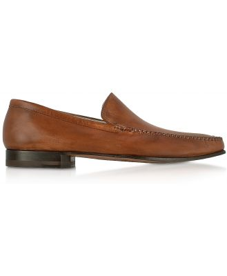 Pakerson Designer Shoes, Brown Italian Handmade Leather Loafer Shoes