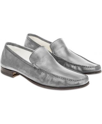 Pakerson Designer Shoes, Gray Italian Handmade Leather Loafer Shoes