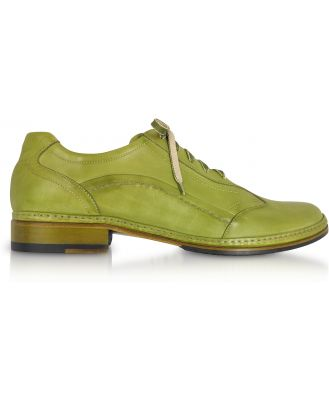 Pakerson Designer Shoes, Pistachio Green Italian Handmade Leather Lace-up Shoes