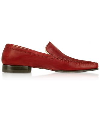 Pakerson Designer Shoes, Red Italian Handmade Leather Loafer Shoes