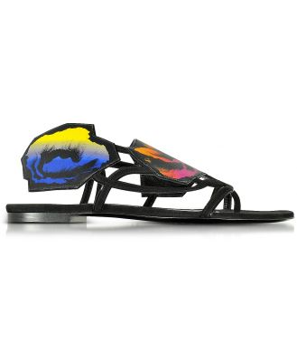 Pierre Hardy Designer Shoes, Multicolor Leather and Suede Poppy Flat Sandals