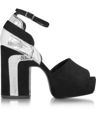 Pierre Hardy Designer Shoes, Roxy Black Suede and Silver Ayers Platform Sandal