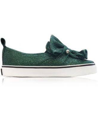 RED Valentino Designer Shoes, Dark Green Crackled Metallic Leather Slip On Sneakers
