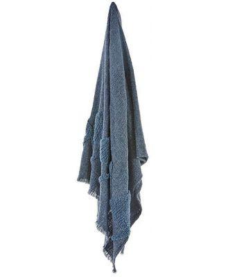 Milos Throw 127x152cm Mid Blue (Q) by Freedom