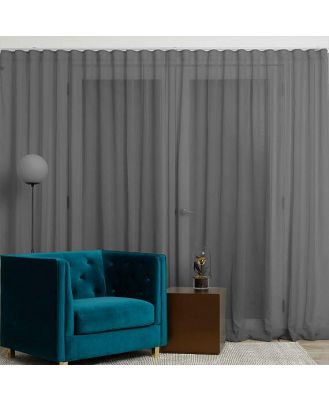 Mineral Sheer 140cm S-Fold Curtain Granite (D) by Freedom