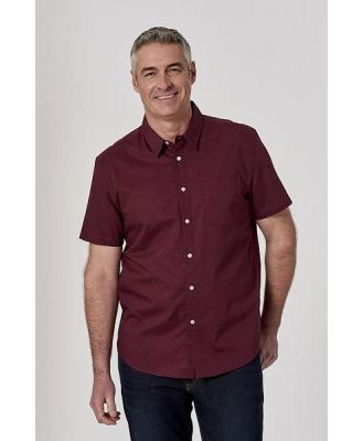 Bronson Casual Mens Fraser Mini Leaf Cotton Short Sleeve Shirt