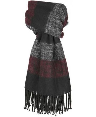 Dents Lightweight Scarf With Bold Stripe And Tassel Ends
