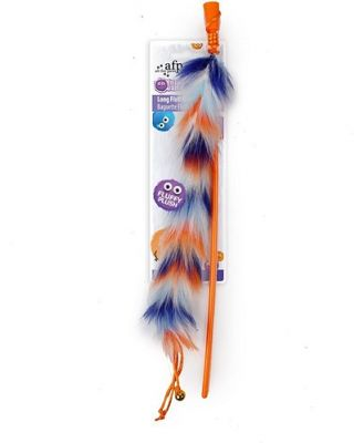 All For Paws Long Fluff Wand Orange Cat Toy