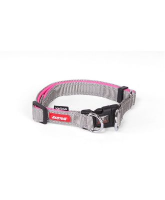 Kazoo Active Adjustable Nylon Dog Collar Silver & Pink