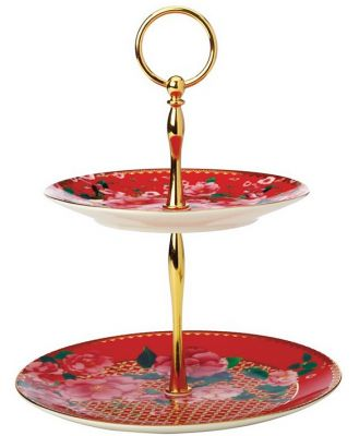 Maxwell & Williams Teas & C's Silk Road 2 Tiered Cake Stand Cherry Red