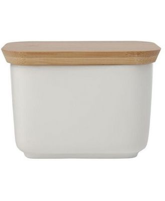 Maxwell & Williams White Basics Butter Dish With Bamboo Lid
