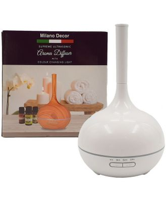 Milano Decor Supreme Ultrasonic Aroma Diffuser with 3 Pack of Aroma Oils White