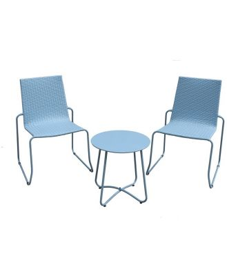 Milano Outdoor Coffee Table & Chairs Set Steel/Rattan