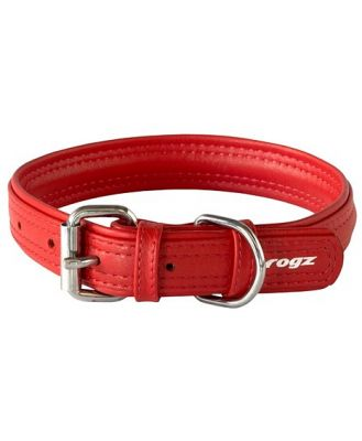 Rogz Leather Buckle Dog Collar Red Extra