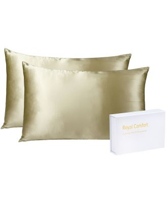 Royal Comfort Mulberry Silk Pillow Case Twin Pack Champagne
