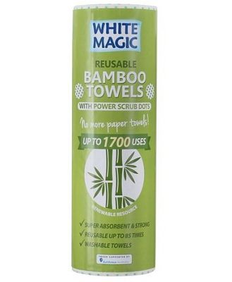White Magic Bamboo Towels with Power Scrub Dots 20 Pack