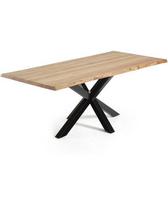 Arya 2.2m Natural Oak Dining Table - Black by Interior Secrets - AfterPay Available