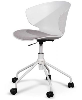 Betrillo White Office Chair - Light Grey Seat by Interior Secrets - AfterPay Available