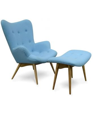 Contour Lounge Chair with Ottoman in Blue - Grant Featherston Replica by Interior Secrets - AfterPay Available