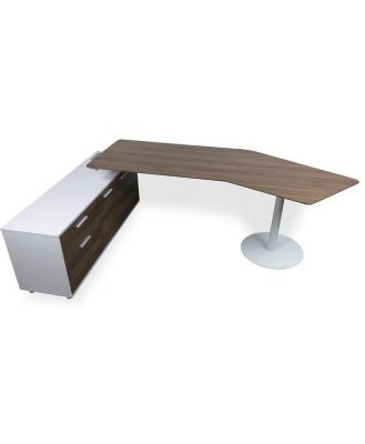 Elite 2.52m Executive Office Desk Left Return - Walnut by Interior Secrets - AfterPay Available