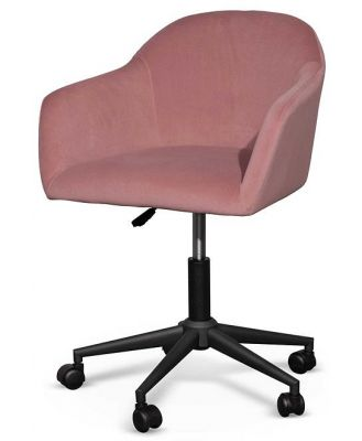 Enoch Blush Velvet Office Chair - Black Base by Interior Secrets - AfterPay Available