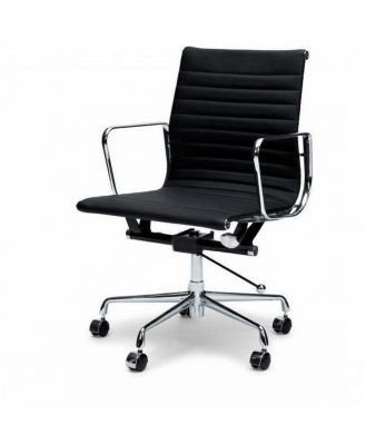 Floyd Low Back Office Chair - Black Leather by Interior Secrets - AfterPay Available