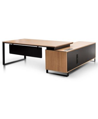 Janell 2.3m Left Return Office Desk - Natural by Interior Secrets - AfterPay Available