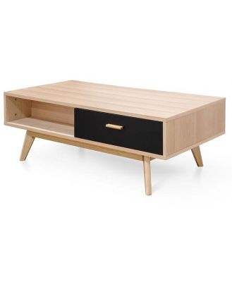 Jerald 120cm Wooden Coffee Table In Natural - Black - Last One by Interior Secrets - AfterPay Available