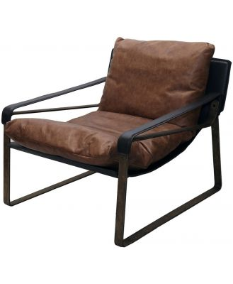 Leather and Bronze Recliner Chair