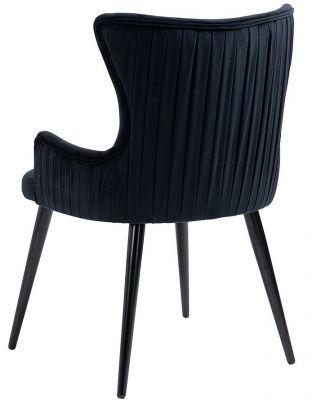 Rosetta Dining Chair Black Velvet Set/2