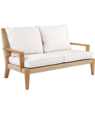 Nelson Bay Teak 2 Seat Sofa, White Cushions