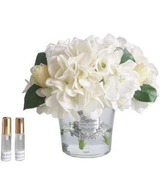 Cote Noire Hydrangeas and Rosebuds White