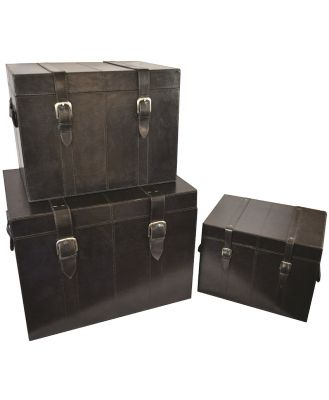 Hutchinson Set/3 Trunks Black Leather