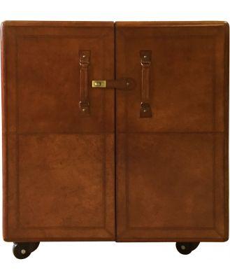 Patrick Leather Bar Cabinet, Dark Brown
