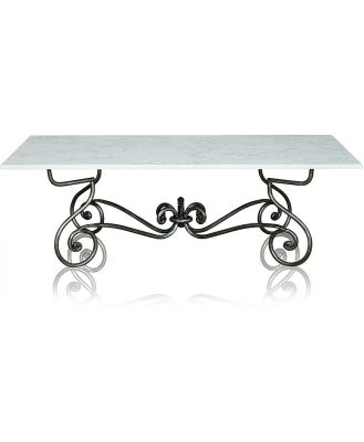 Paris Wrought Iron Coffee Table With Marble Top